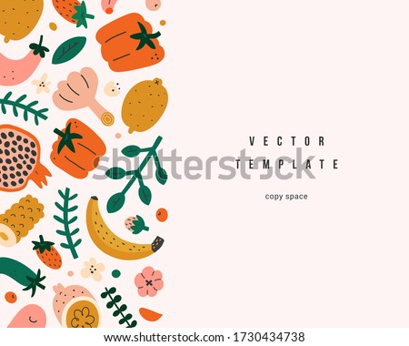 Organic foods frame template, vector layout with copy space, cute naive handdrawn fruits and vegetables, vector arrangement, good as menu cover, banner or brochure