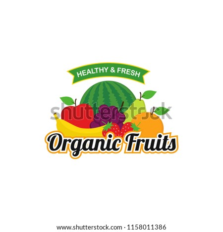 Organic Fresh Fruits Logo Design Vector #1158011386