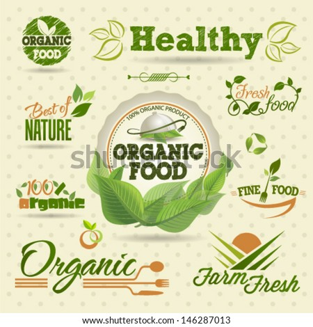 Shutterstock Organic Fresh vector Labels and  Elements set. Graphic Design Editable For Your Design.