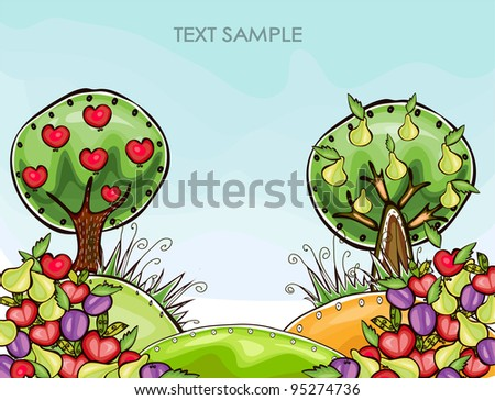 Organic fruits - stock vector