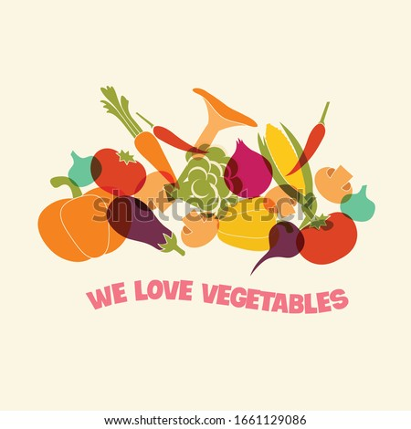 Organic fruits and vegetables template.