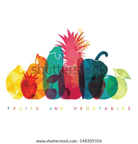 Organic fruits and vegetables template. Vector illustration