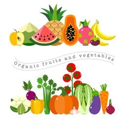 Organic fruits and vegetables template. Vector illustration, set of hand-painted vegetables and fruits. Healthy eating vector concept with flat images
