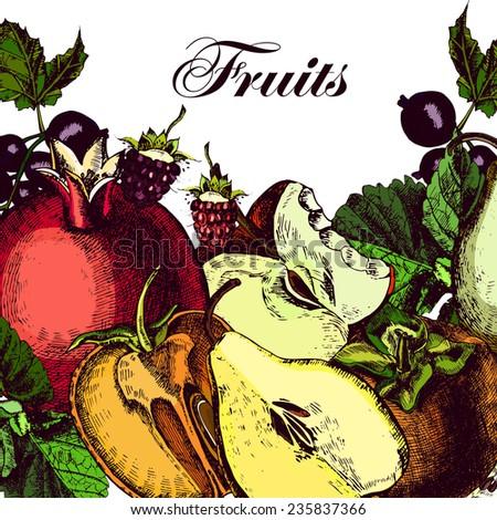 organic fruits still life of