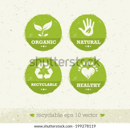 Organic Green Circle Icons. Creative Nature Friendly Eco Vector Concept on Recycled Paper Background