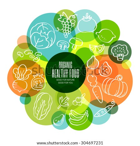 Organic healthy fruits and vegetables conceptual doodles illustration #304697231