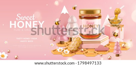 Organic honey ad banner with cute bees and pink miniature forest scene in cartoon design, 3d illustration