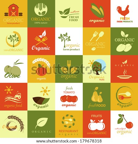 Organic Icons Set - Isolated On Background - Vector Illustration, Graphic Design Editable For Your Design, Food Concept