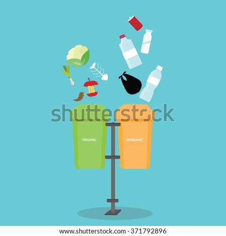 organic inorganic recycle garbage bin separation segregate  separate bottle degradable waste trash