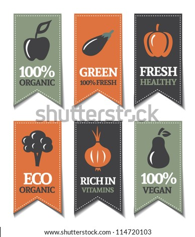 Organic Labels With Vegetables - stock vector