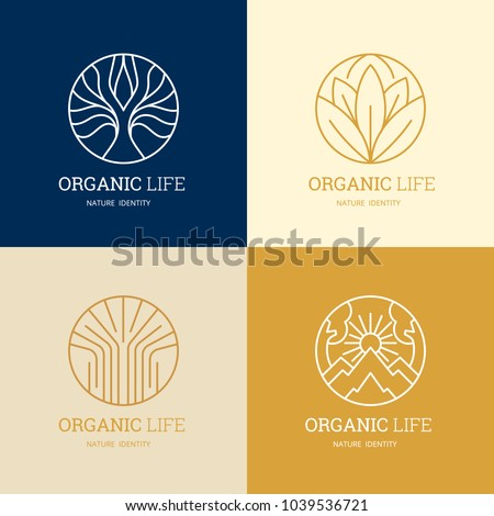 Organic life logo set, Graceful monogram design template,Natural line art vector illustration.