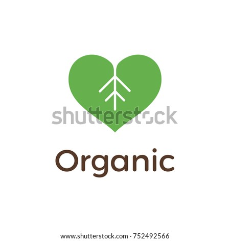 organic logo design with heart