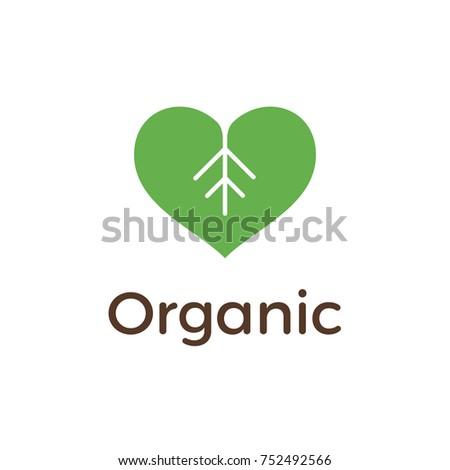 organic logo design with heart