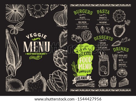 Organic menu template for vegetarian restaurant on a blackboard background vector illustration brochure for food and drink cafe. Design layout with vintage lettering and doodle graphic icons.
