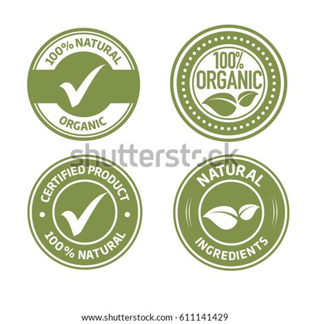 Organic natural ingredients product green labels vector set with leaves and ticks