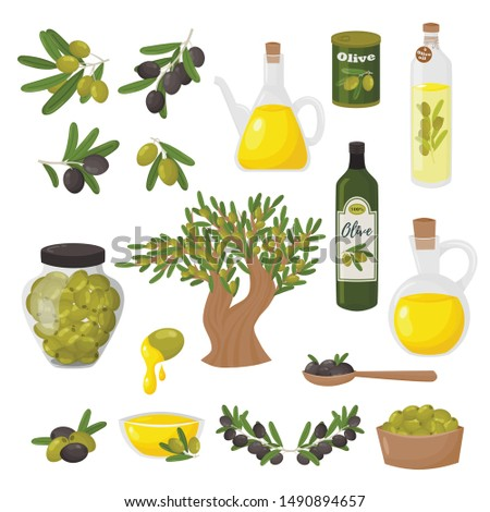 Organic olive products flat vector illustrations set. Fresh ripe tree fetuses and fragrant oil in bottles and jugs isolated on white background. Traditional mediterranean ingredient, natural plant