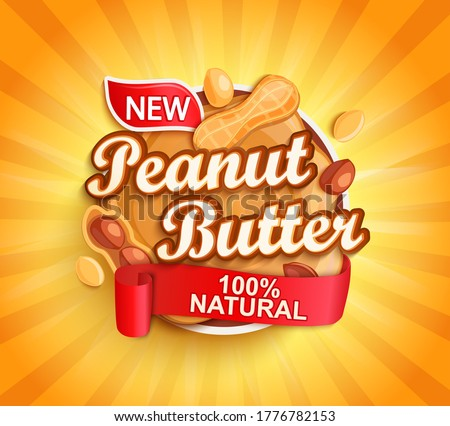 Organic peanut butter label, natural product with nuts on gold sunburst background for your brand, logo, template, label, emblem for groceries, stores, packaging and advertising, marketing. Vector