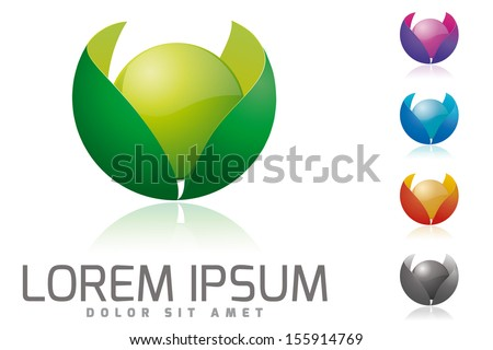 Organic products company vector logo design template. Glossy sphere surrounded by leaves vector illustration