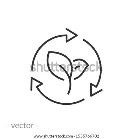 organic recycle icon, eco care, reusable environmental, ecology friendly reuse, logo, thin line web symbol on white background - editable stroke vector illustration eps 10 Foto stock ©