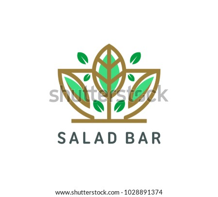 Organic salad logo template vector illustration