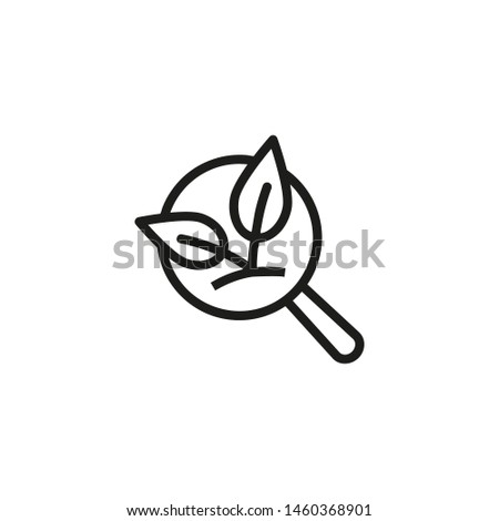 Organic SEO line icon. Magnifying glass, nature, ecologically friendly. Organics concept. Vector illustration can be used for topics like environment, ecology, food