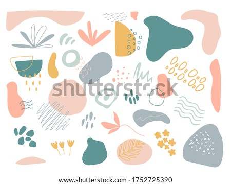 Organic shapes set on white background. Hand draw abstract design elements in pastel colors. Minimal stylish cover template. Art form for social media stories, branding, banner. Vector illustration.