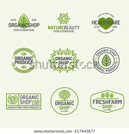 Organic shop and fresh farm logo set line style isolated on background for vegan cafe, eco shop, ecology company, green unity, nature firm, natural product, garden, farming. Vector Illustration