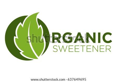 Organic sweetener green symbol of stevia or sweet grass logo