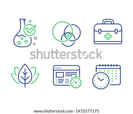 Organic tested, First aid and Web timer line icons set. Chemistry lab, Euler diagram and Calendar time signs. Bio ingredients, Medicine case, Online test. Laboratory flask. Science set. Vector