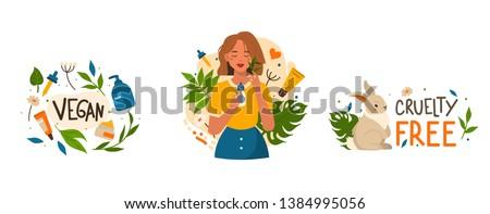 Organic vegan cosmetic set. Flat style modern vector illustrations isolated on white background.