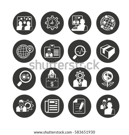 organization and business management icon set in circle button #583651930