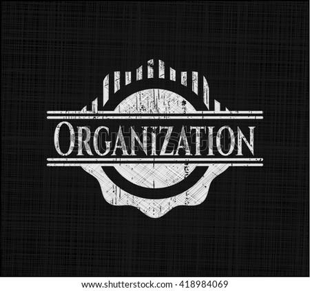 Organization chalk emblem, retro style, chalk or chalkboard texture