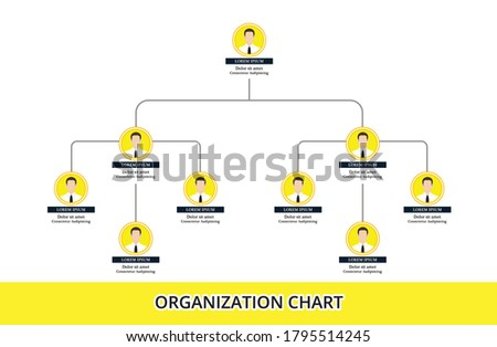 Organization Chart Infographics with People Icon and Abstract Line, Business Structure, Hierarchy of employees, org  Vector Illustration. Stock photo ©
