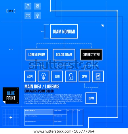 Organization chart template in blueprint style. EPS10