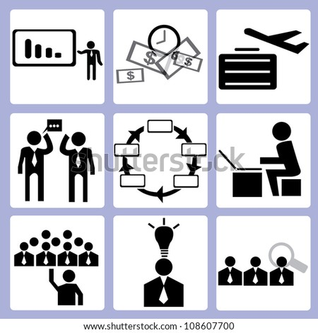 organization development and human resource icon set, vector - stock vector