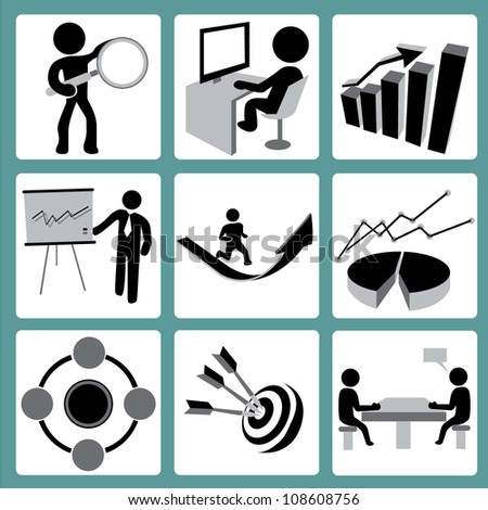 organization development, business management and human resource management icon set