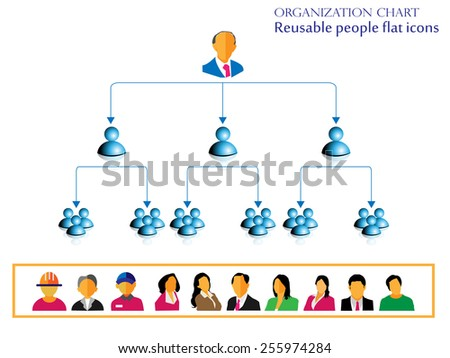 Organization hierarchy chart infographic design and reusable people flat icon collection