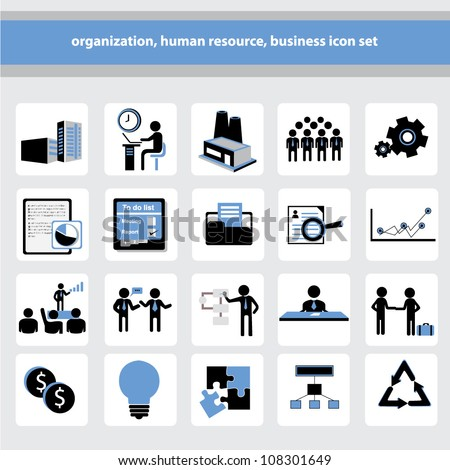 organization, human resource, business icon set