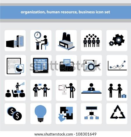 organization, human resource, business icon set