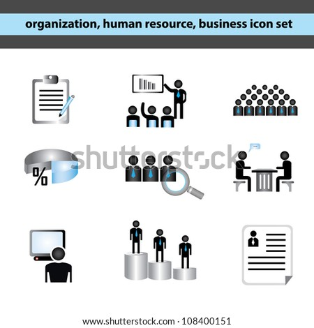 organization, human resource, business management icon set