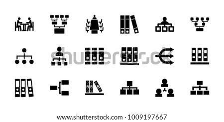 Organization icons. set of 18 editable filled organization icons: structure, binder, family structure