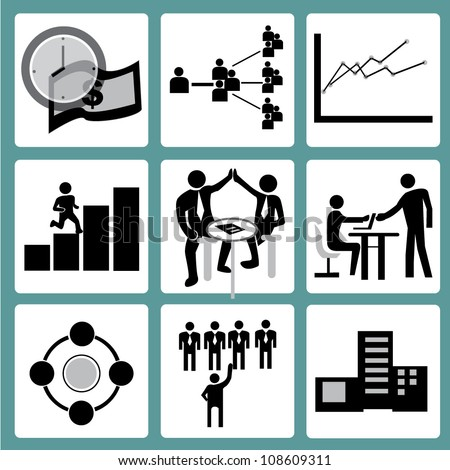 organization management and human resource management icon set