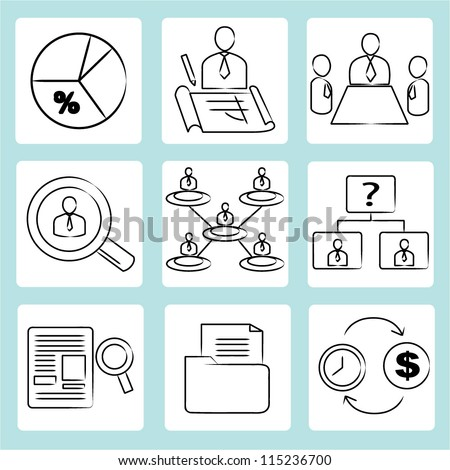 organization management, human resource management, drawing, sketch icon set