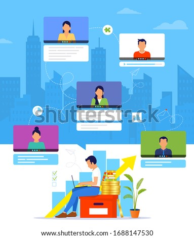 Organization of a workflow or training over the Internet. Young man working from home during Covid-19. Online business training. Working managed remotely by a leader. Remote work from home.