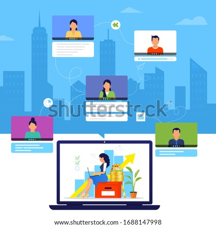Organization of a workflow or training over the Internet. Young woman working from home during Covid-19. Online business training. Working managed remotely by a leader. Remote work from home.