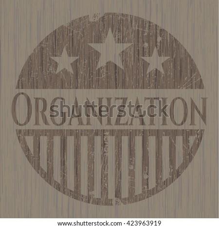 Organization realistic wooden emblem