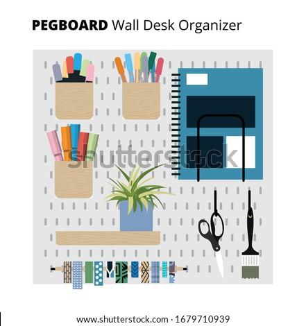 Organization white peg board system. Pegboard organizer home office. Vector illustration. Stock photo ©
