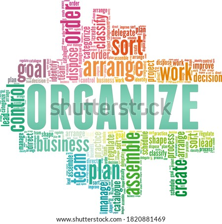 Organize vector illustration word cloud isolated on a white background. Stockfoto ©