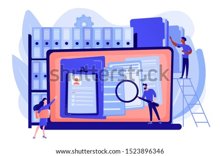Organized archive. Searching files in database. Records management, records and information management, documents tracking system concept. Pink coral blue vector isolated illustration