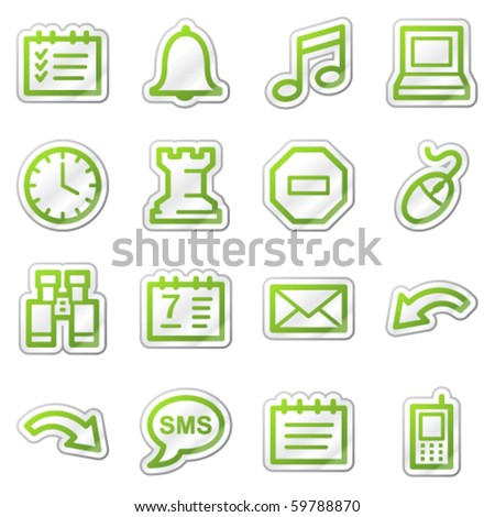 Organizer web icons, green sticker series